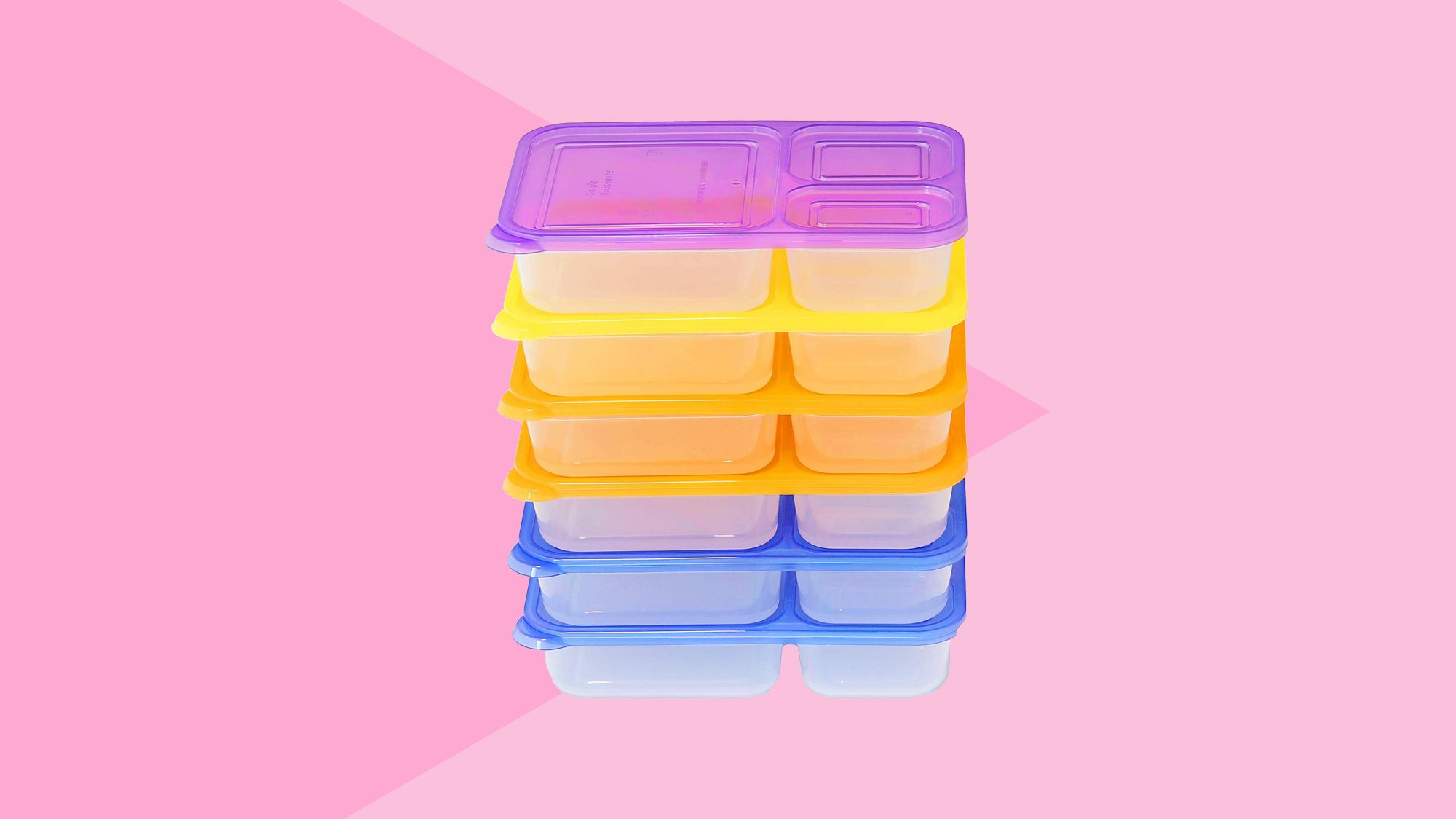 6 Pack SimpleHouseware 3-Compartment Heavy Duty Boxes Tout