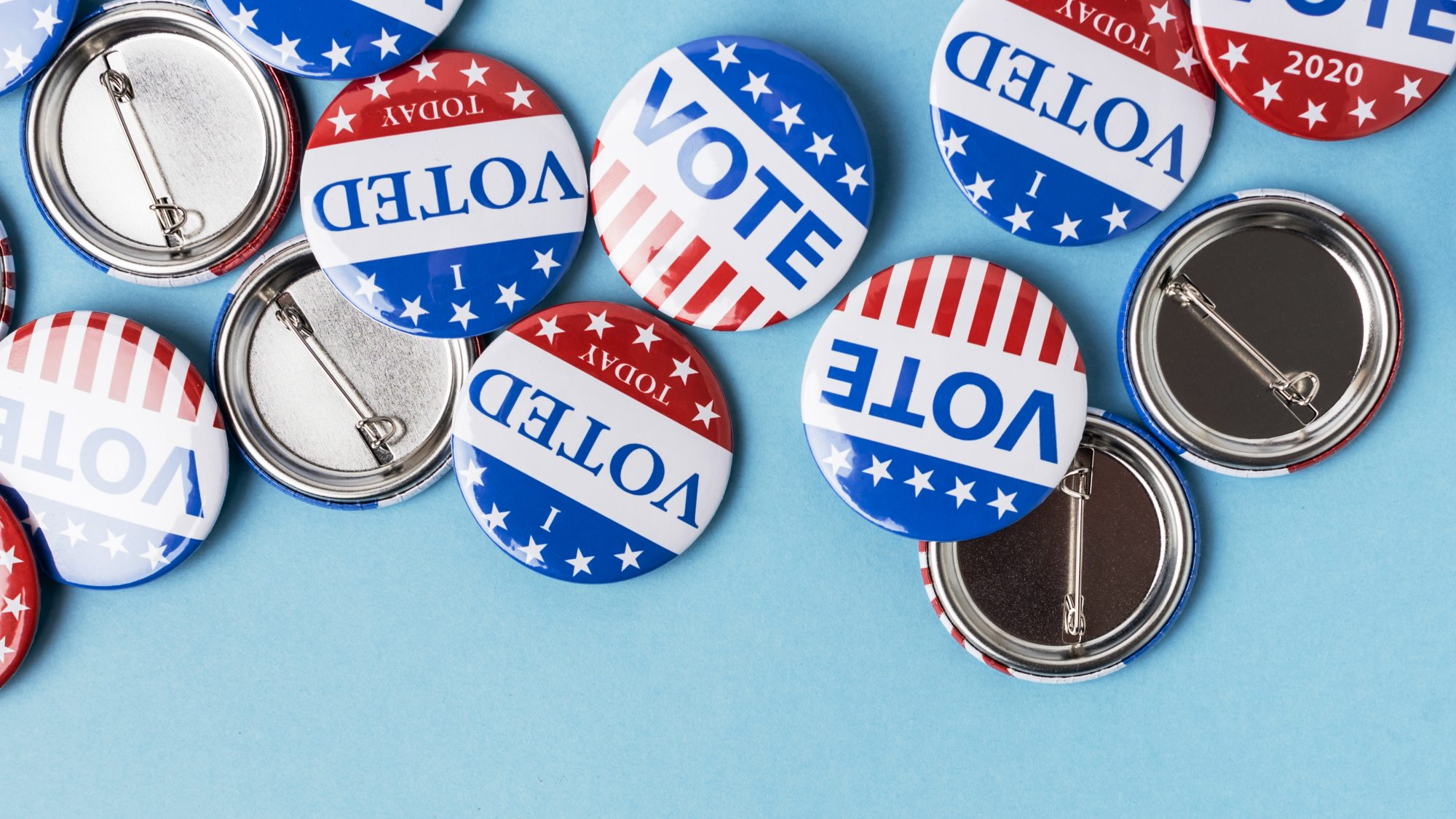Today I Voted buttons: register to vote