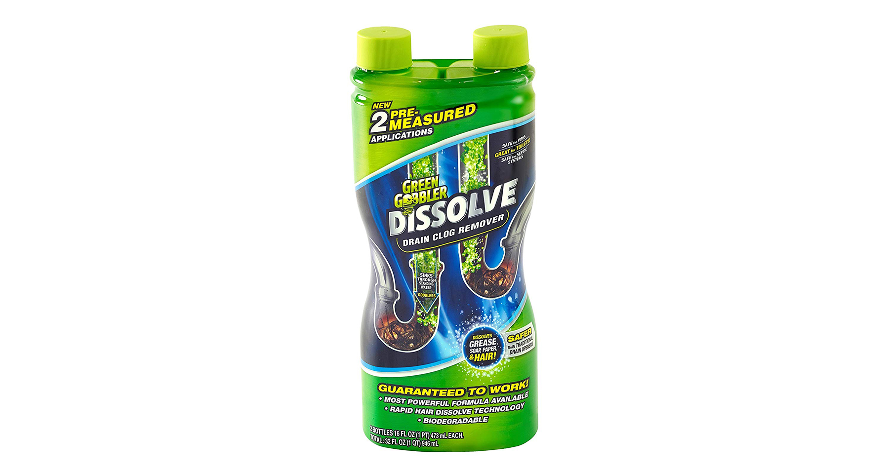 Green Gobbler Dissolve Liquid Hair and Grease Clog Remover