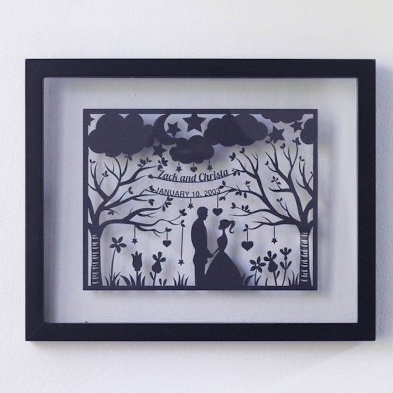 Personalized Papercut First Wedding Anniversary Gift