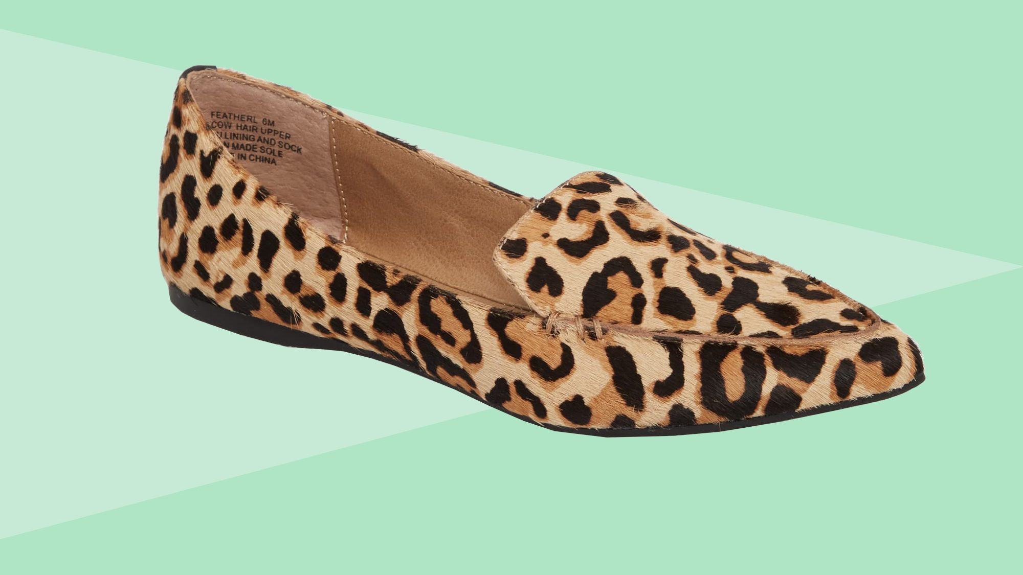 Steve Madden Feather-L Genuine Calf Hair Loafer Flat Leopard Tout