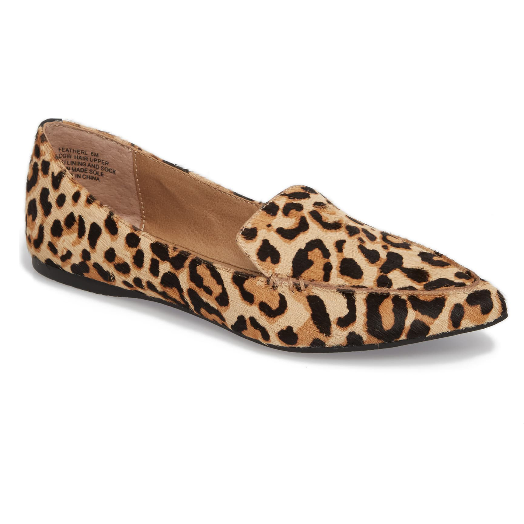 Steve Madden Feather-L Genuine Calf Hair Loafer Flat Leopard