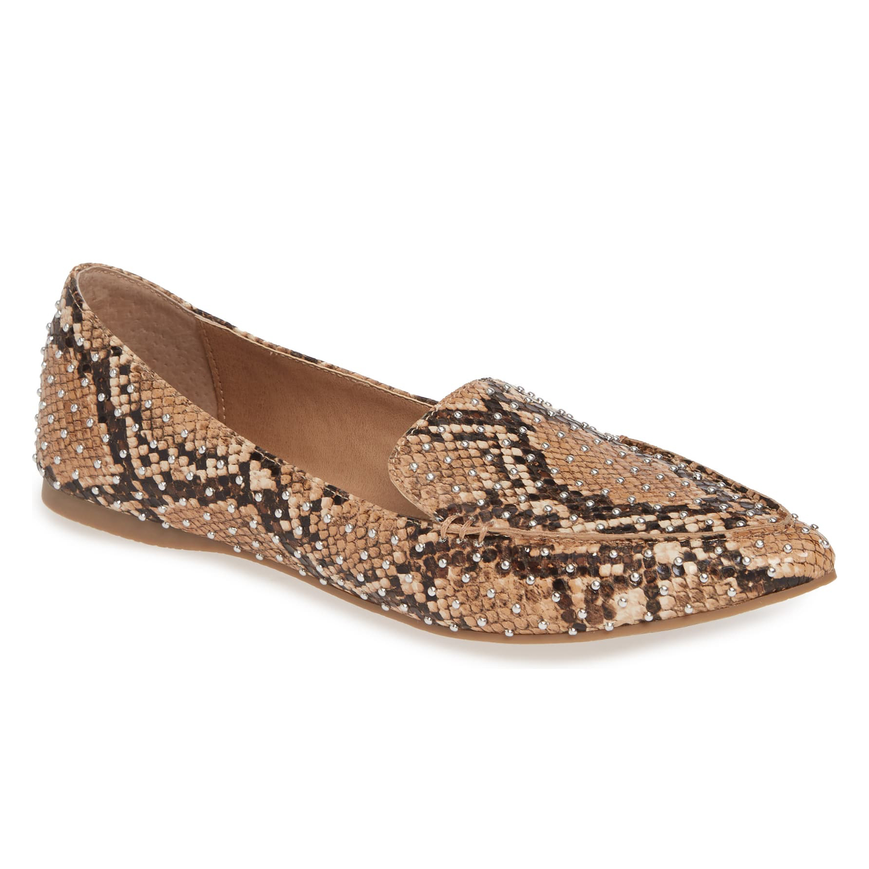 Steve Madden Feather Studded Loafer Tan Snake Print