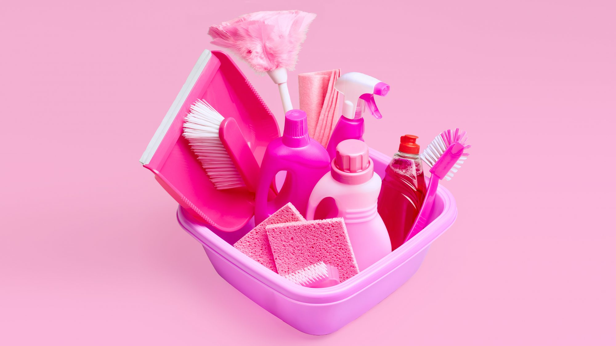 Our Best Spring Cleaning Tips, pink cleaning supplies