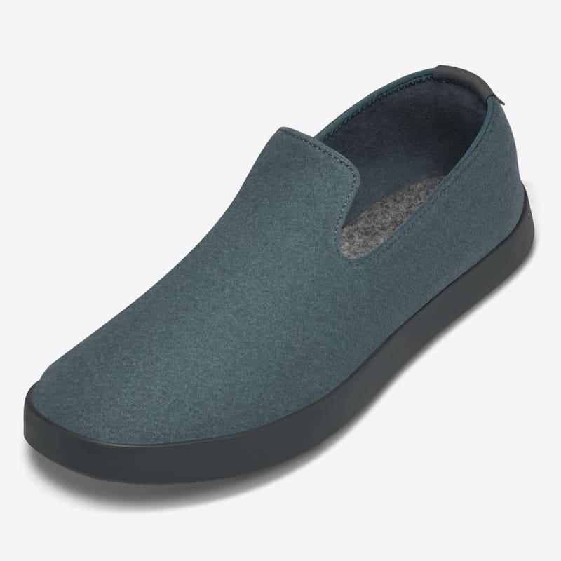 Turquoise wool slippers for working from home