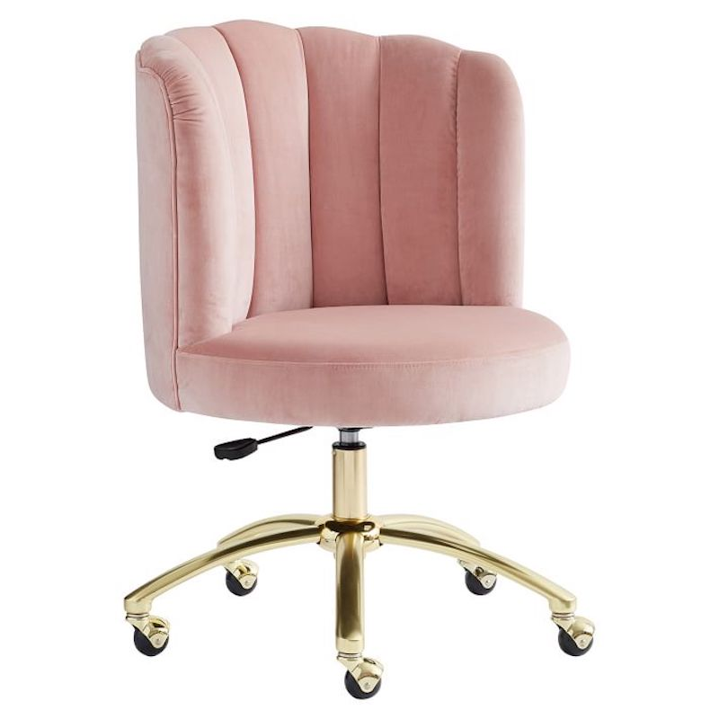 Dusty rose channel stitch home office chair