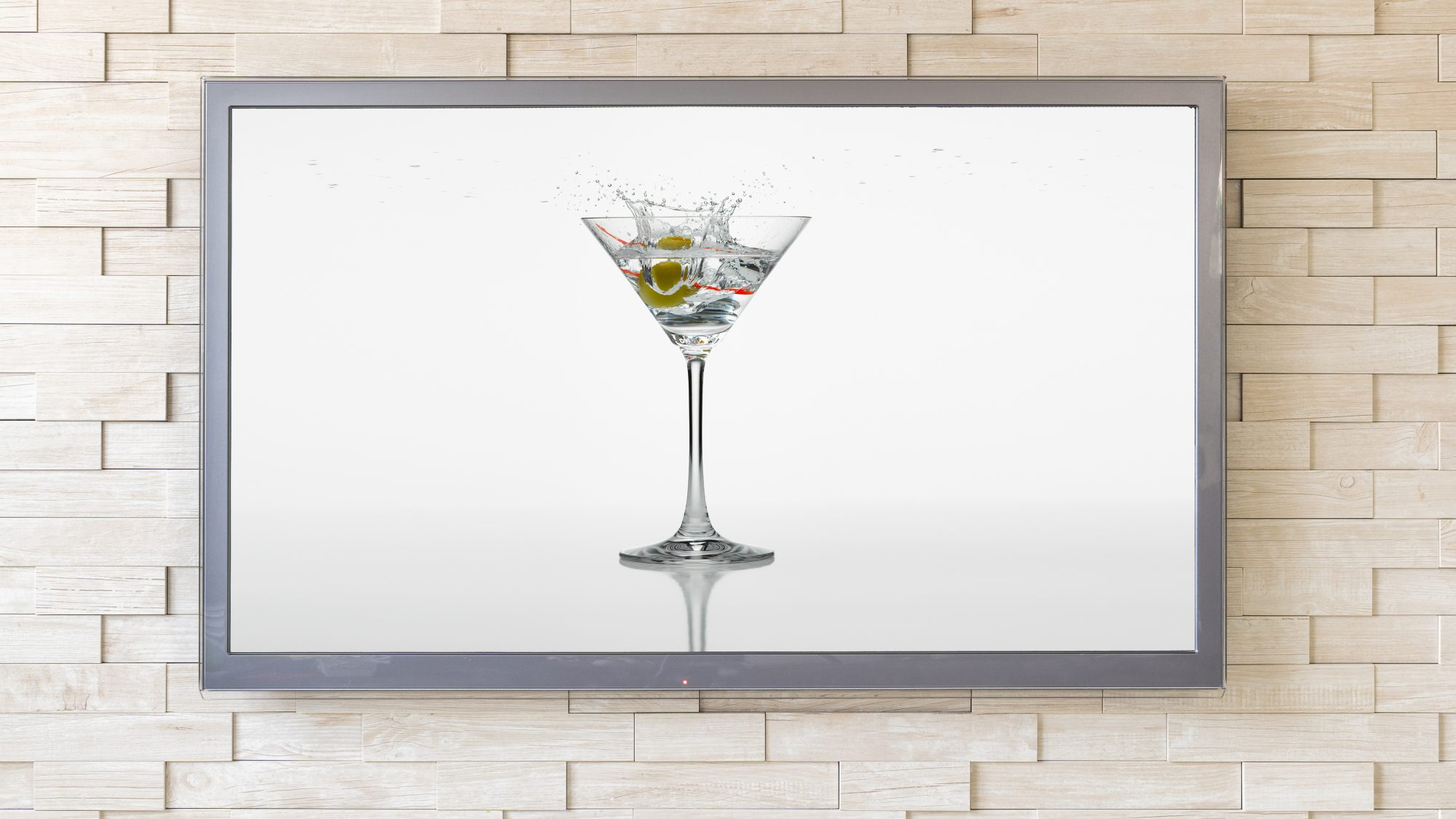 martini on a television: virtual happy hour