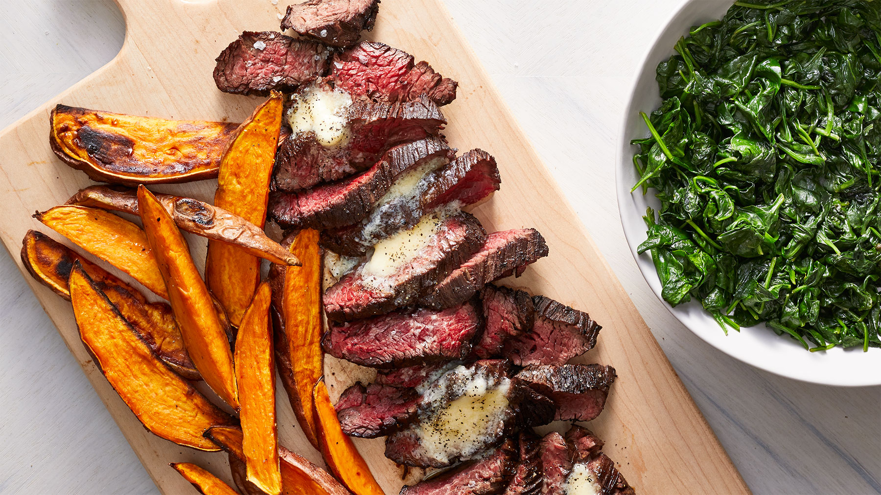 Parm-Butter Steak and Sweet Potato Fries