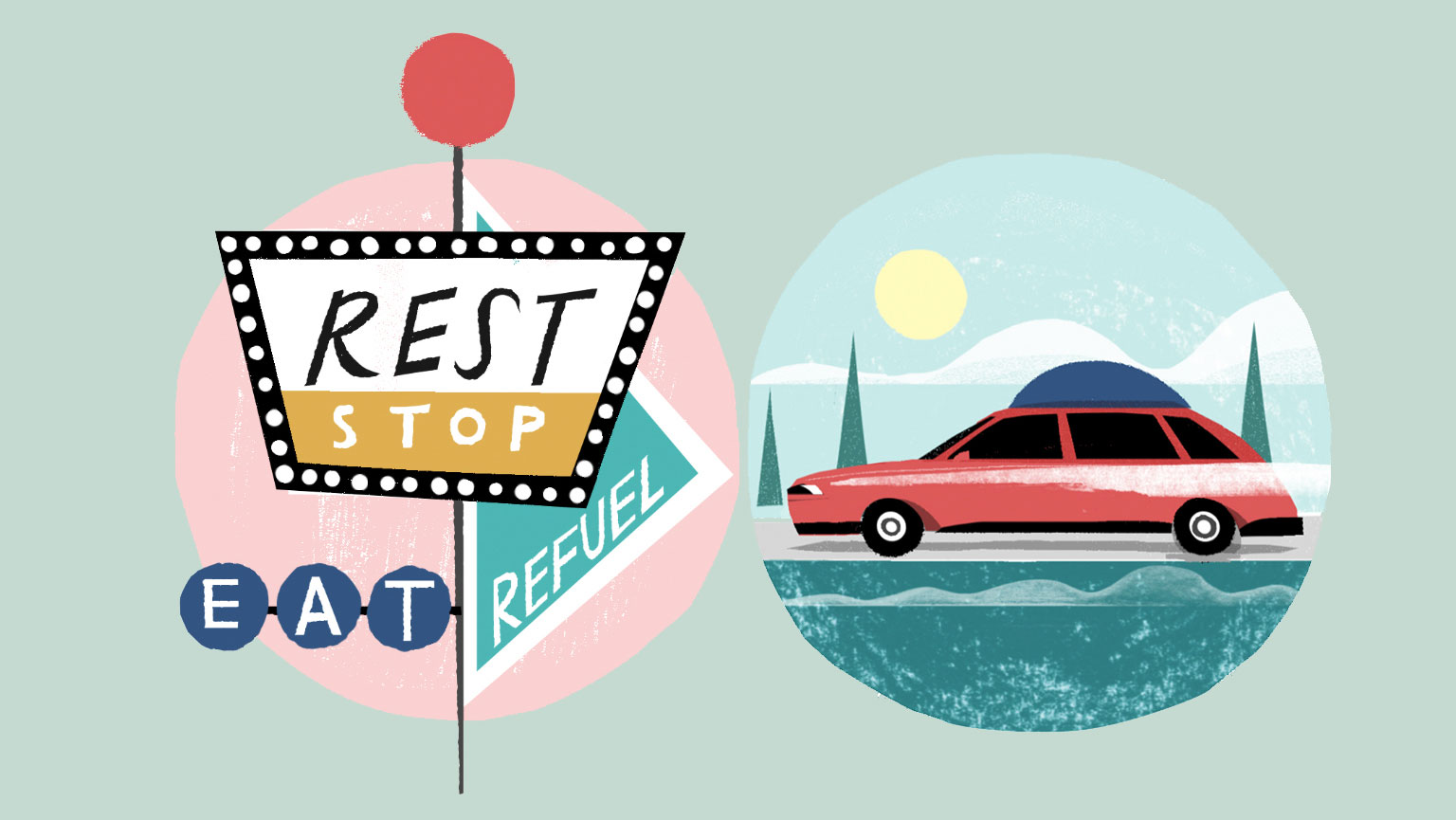 Road trip tips: Planning and prep ideas for a long or short road trip (illustrations of rest stop sign and car)