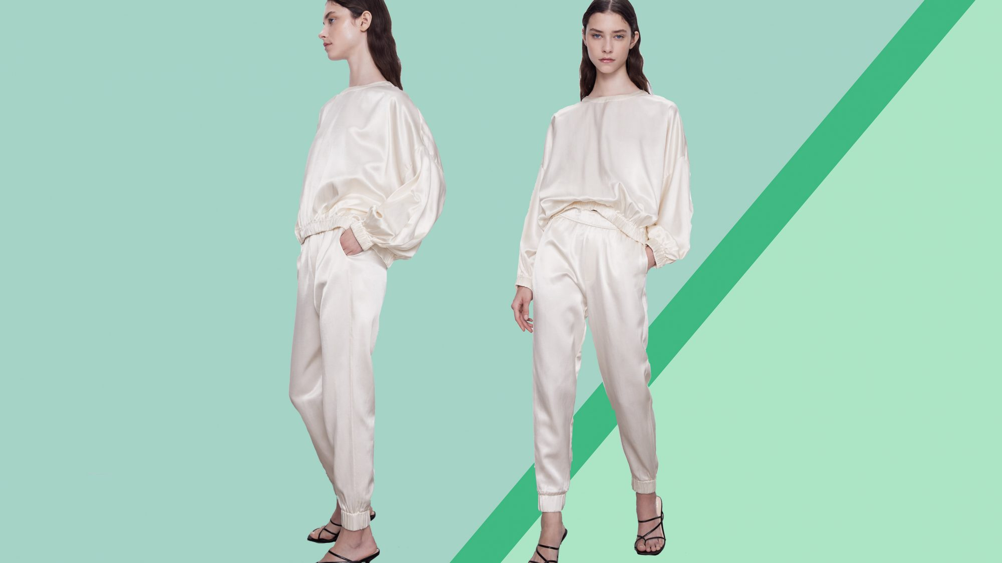 elevated loungewear for working from home: Zara silk joggers