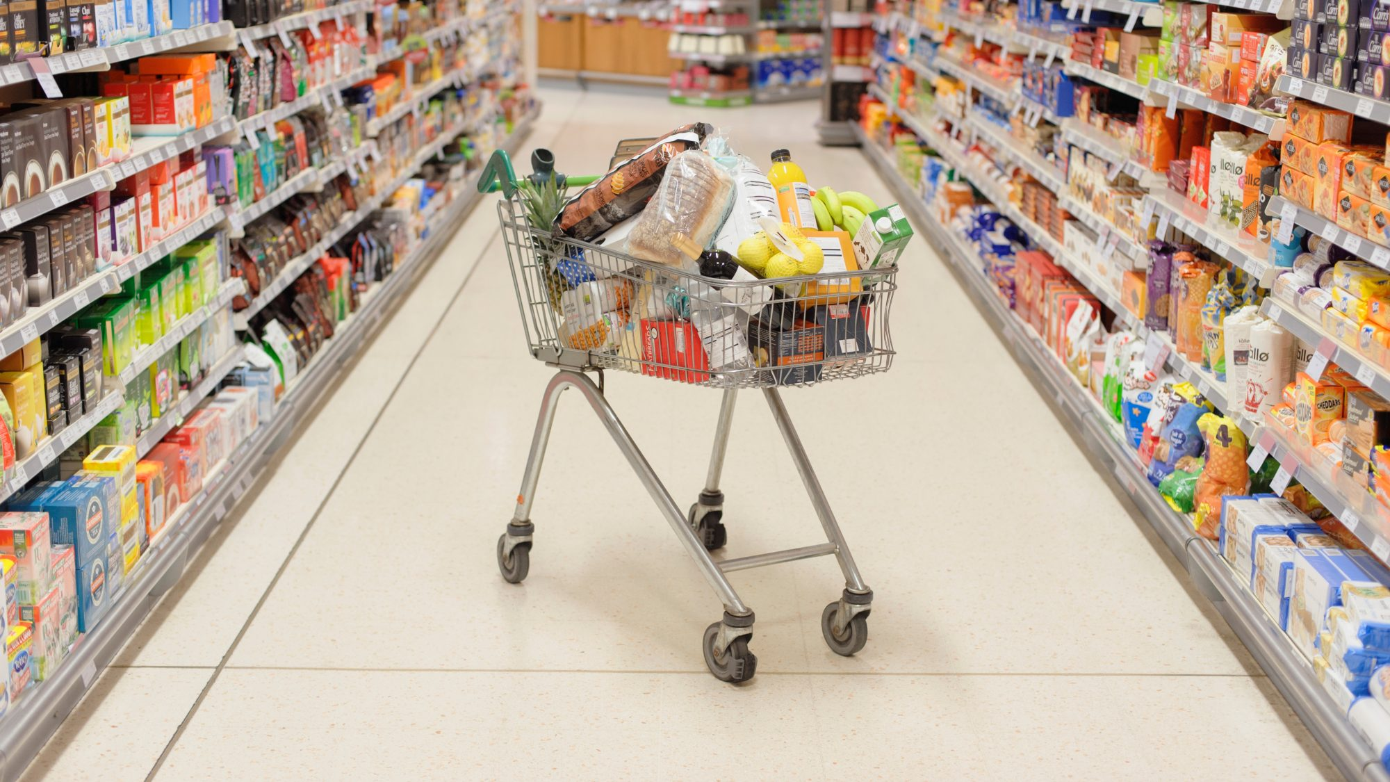 shop grocery stores safely during coronavirus pandemic: shopping cart filled with groceries