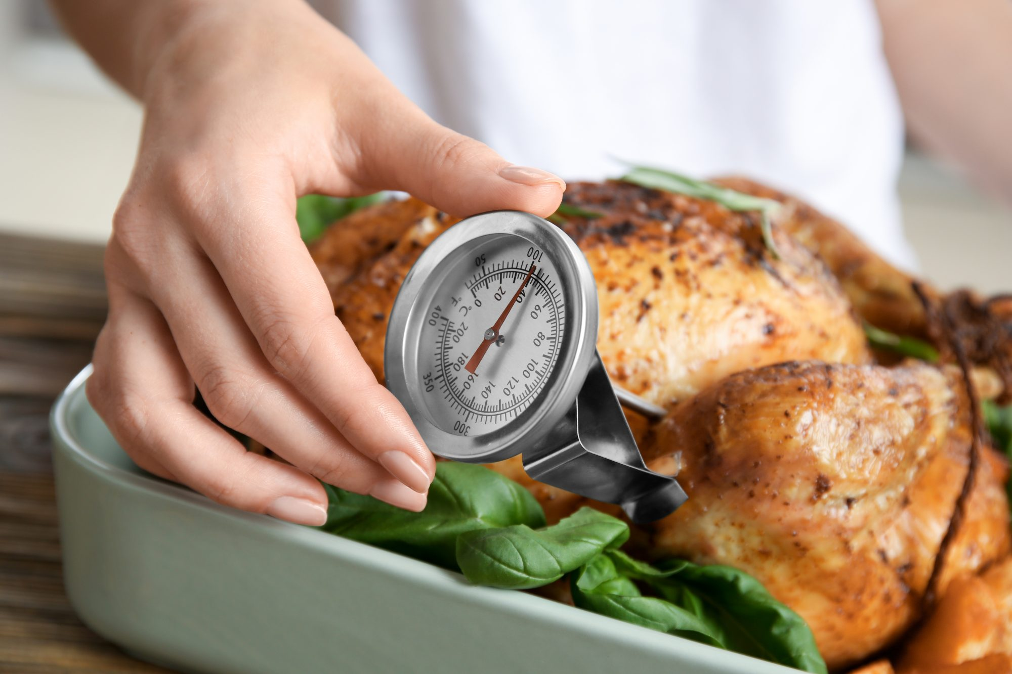 Meat temperature guide: woman measuring temperature of whole roasted turkey with meat thermometer