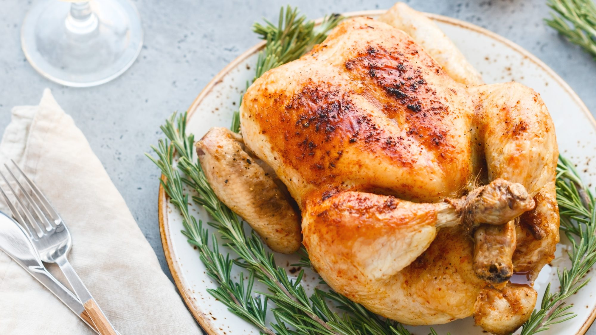 roasted chicken cooked in a convection oven