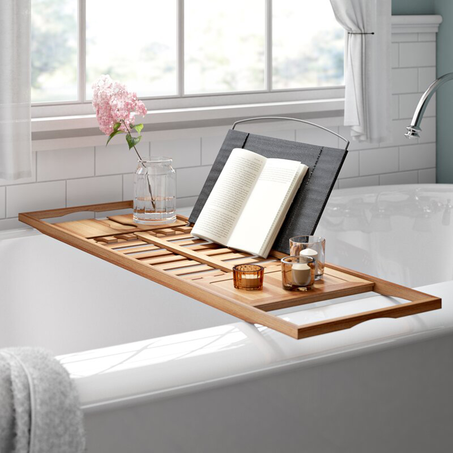 Rebrilliant Gardner Bamboo Bath Caddy