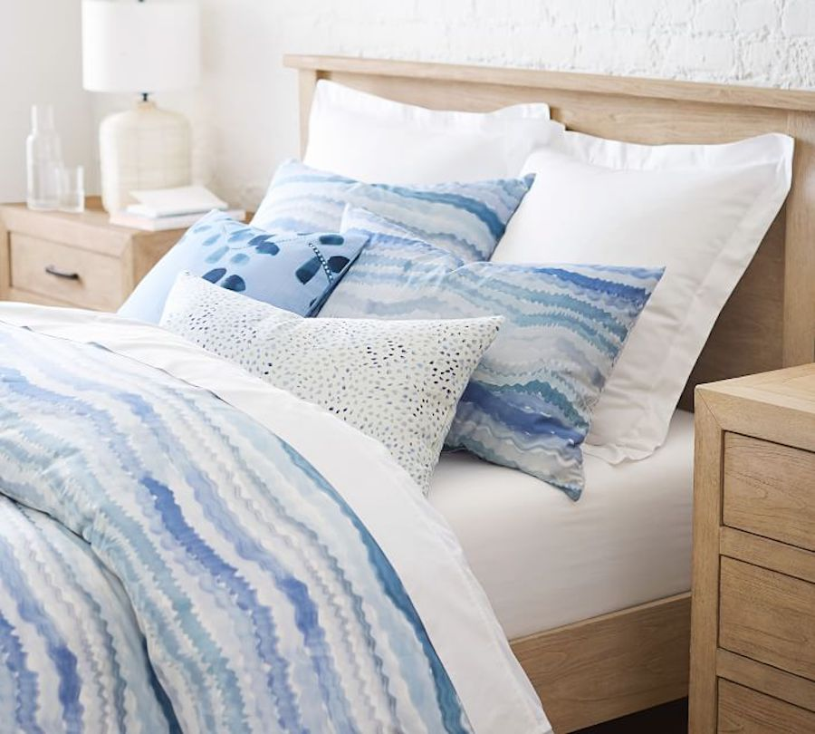hand painted wave bedding duvet in blue: Rebecca Atwood for Pottery Barn