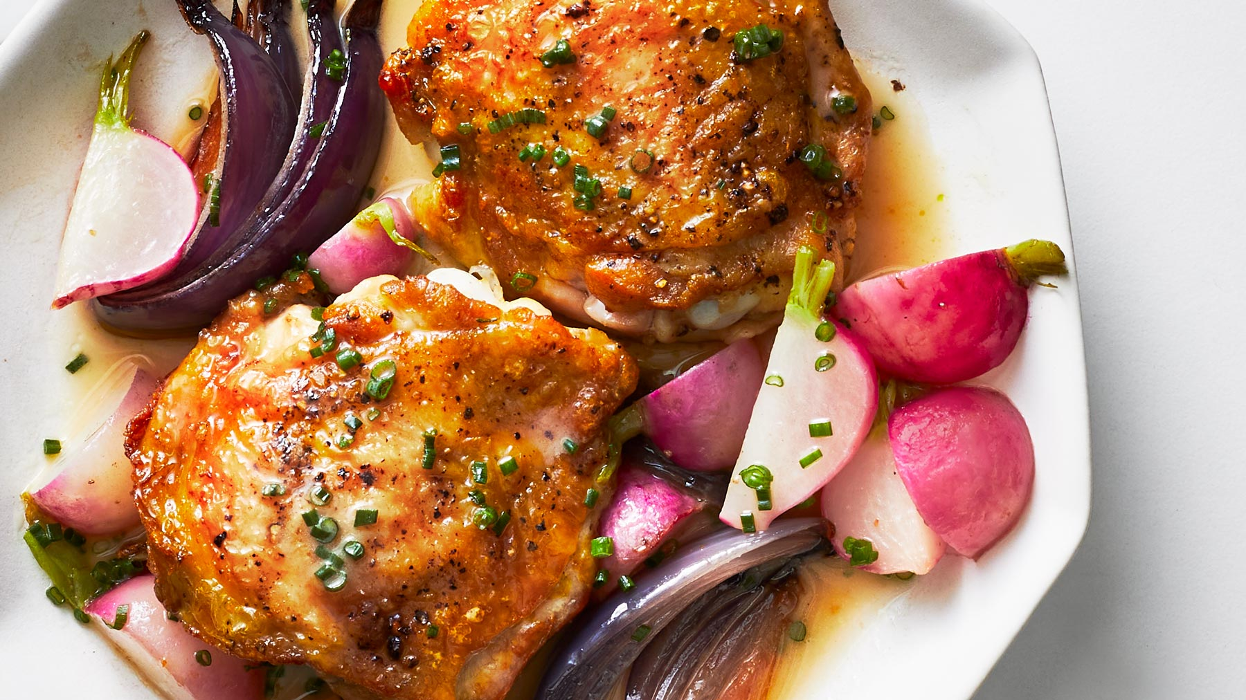 Crispy Chicken With Roasted Radishes