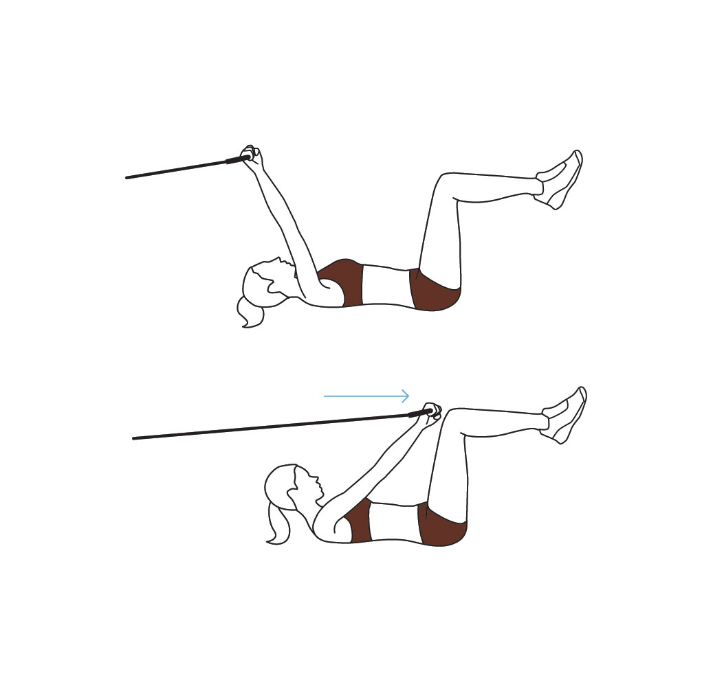 Resistance band workout exercises - crunch ab exercise