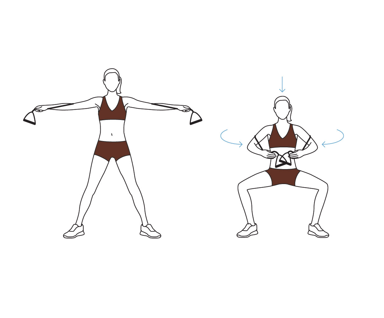 Resistance band workout exercises – arm and leg plie exercise