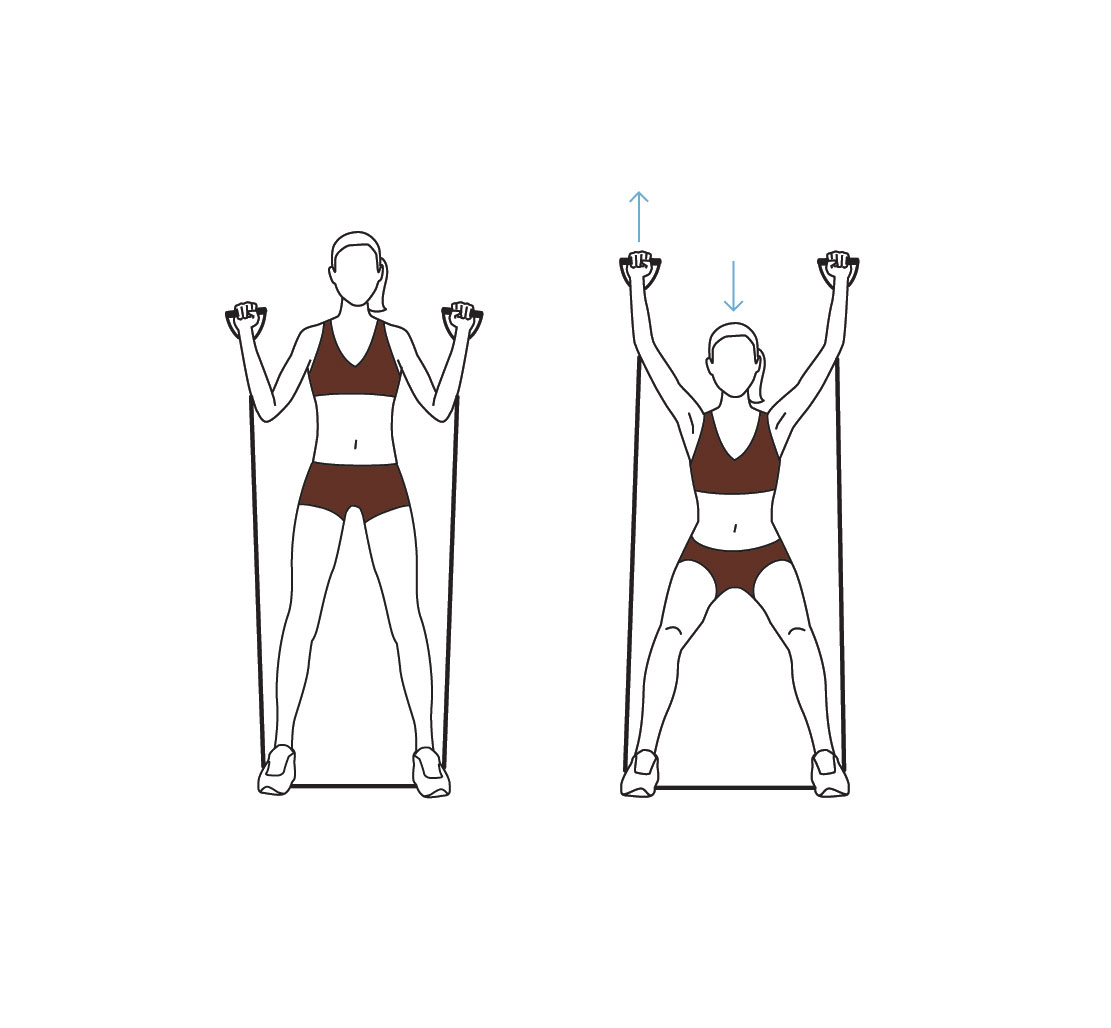Resistance band workout exercises – squat exercise