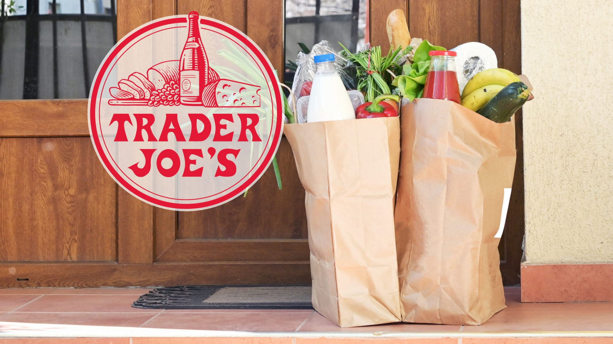 trader joe's shopping bags filled with groceries at front door