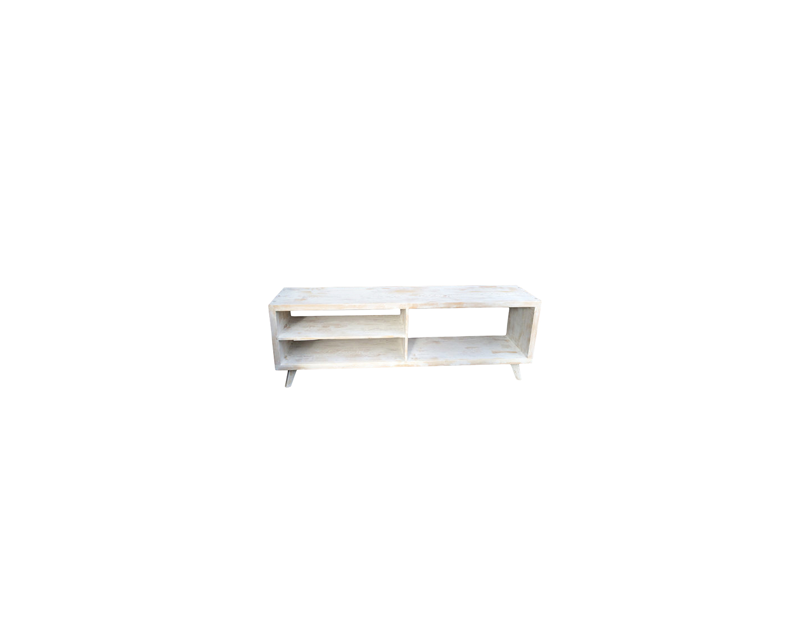 White-washed Mid-century Modern TV console by JSReclaimedWood