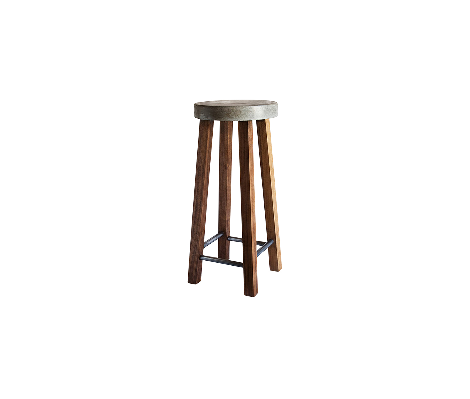 Concrete stool, with walnut legs, and steel foot rests