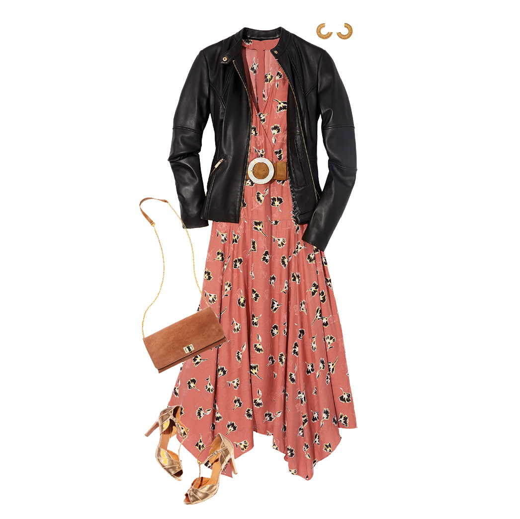 How to Style a Leather Jacket: Dress and Heels