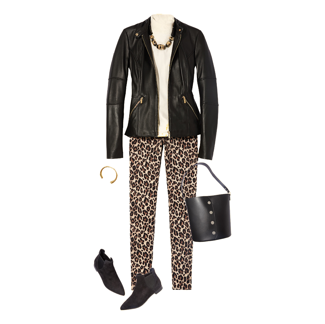 How to Style a Leather Jacket: Leopard-Print Pants