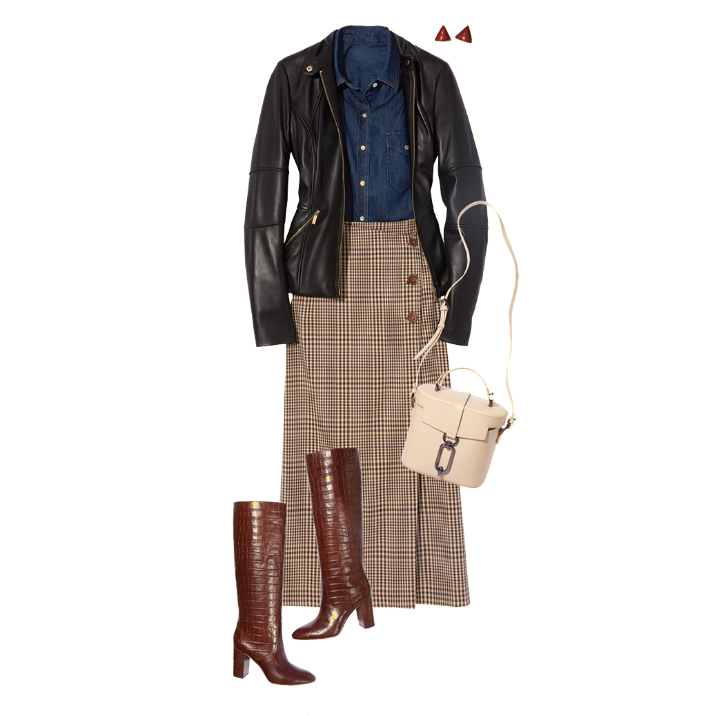 How to Style a Leather Jacket: Midi Skirt and Boots
