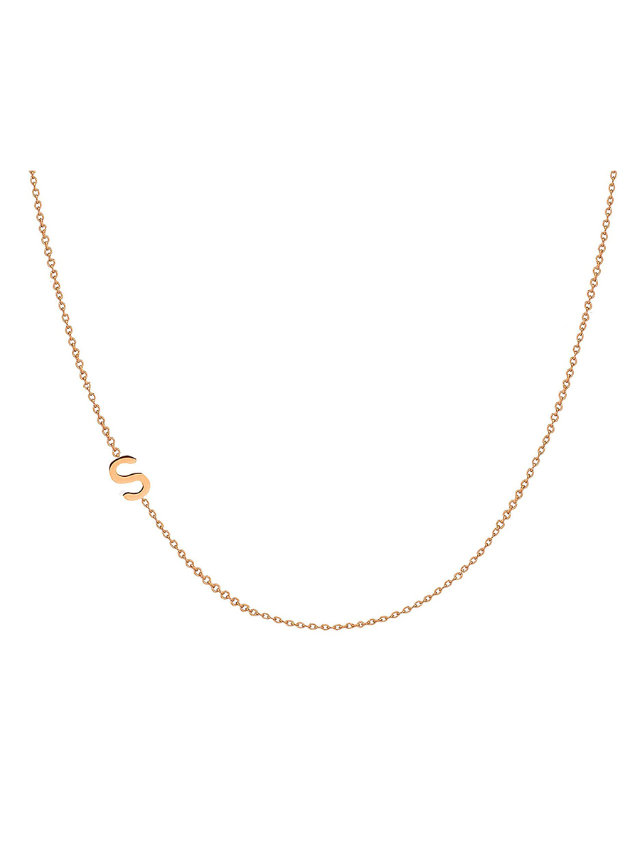 14k Gold Asymmetrical Initial Necklace