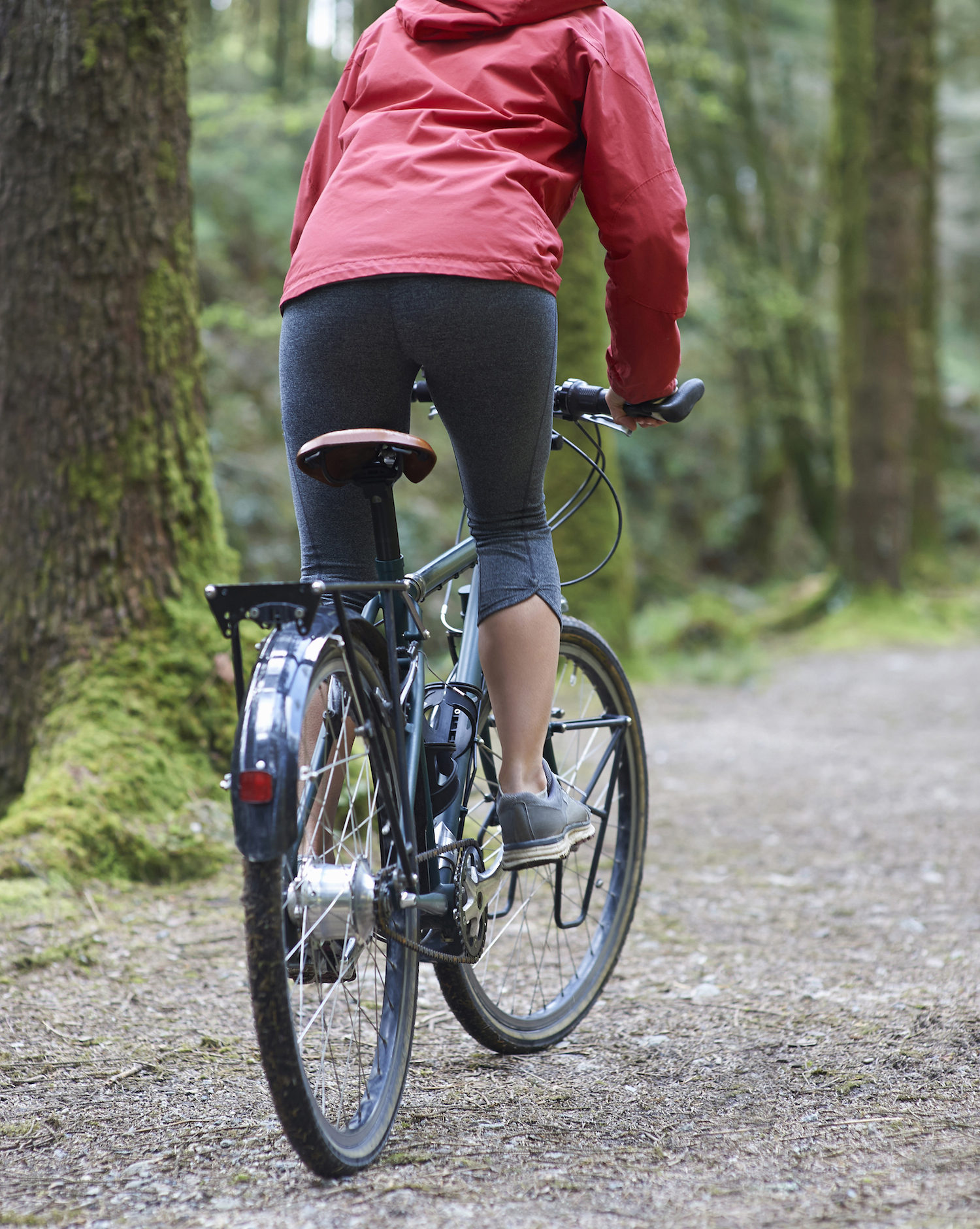 Cyclist riding bike along path in woods