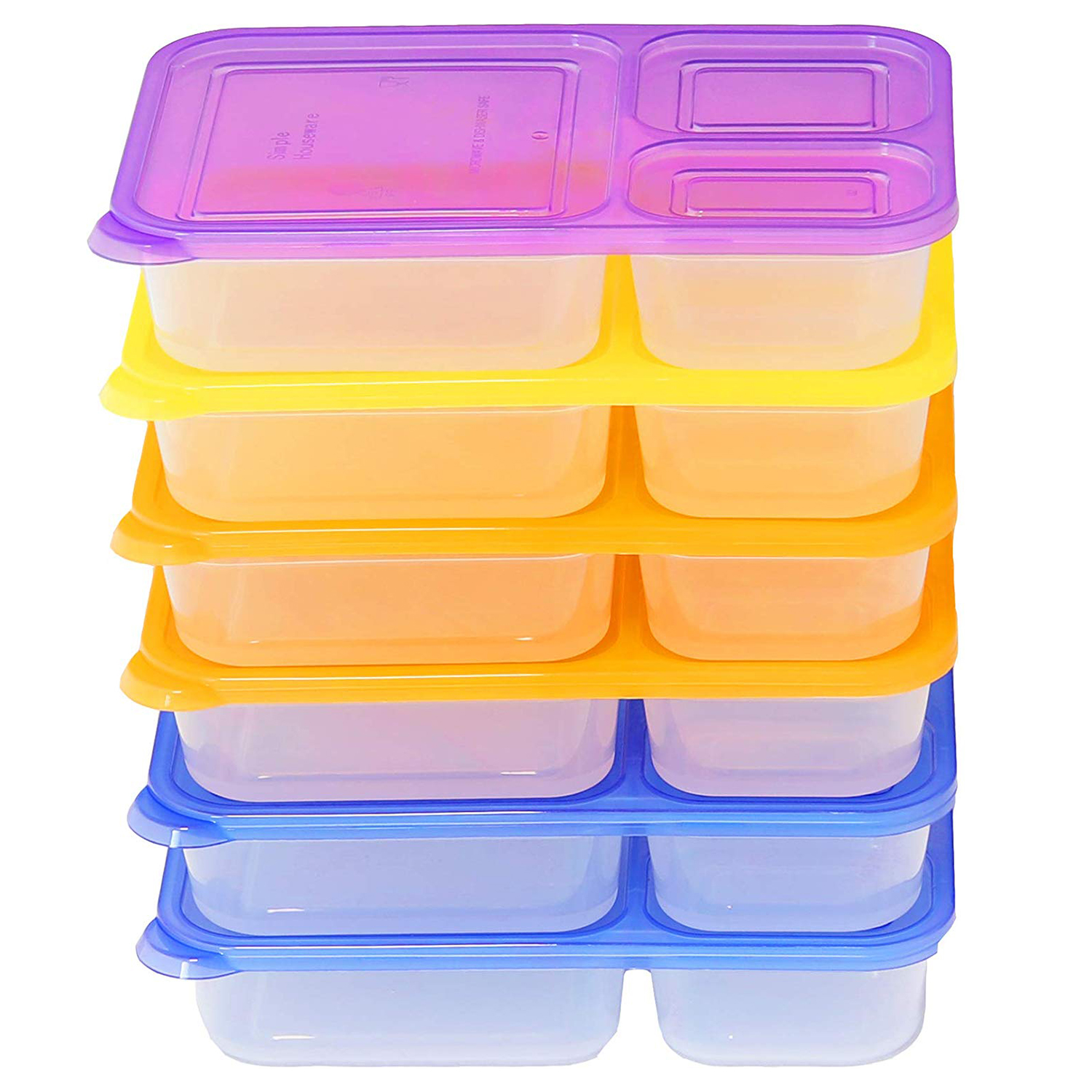 6 Pack SimpleHouseware 3-Compartment Heavy Duty Boxes
