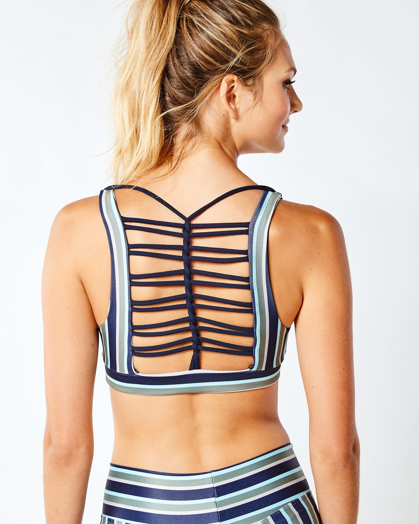 striped sports bra with open back