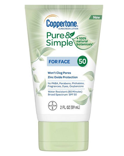 Best Mineral Sunscreen: Coppertone Pure and Simple Botanical Faces Sunscreen Lotion SPF 50