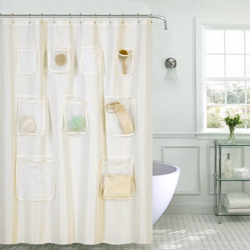 Shower curtain with pockets for bathroom storage