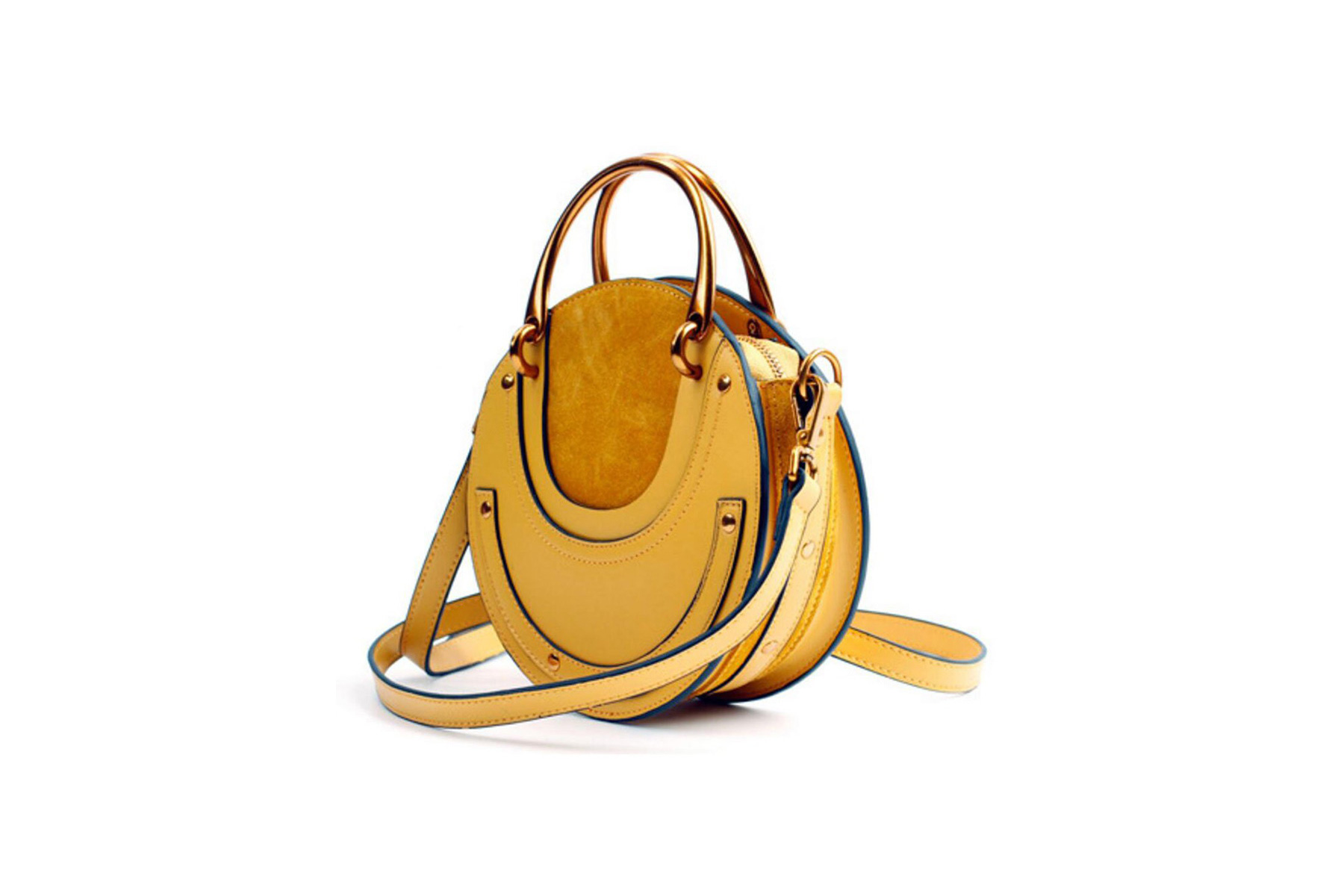Actlure Leather Round Top Handle Crossbody Bag