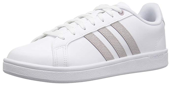 white adidas sneakers for women with rose gold stripes
