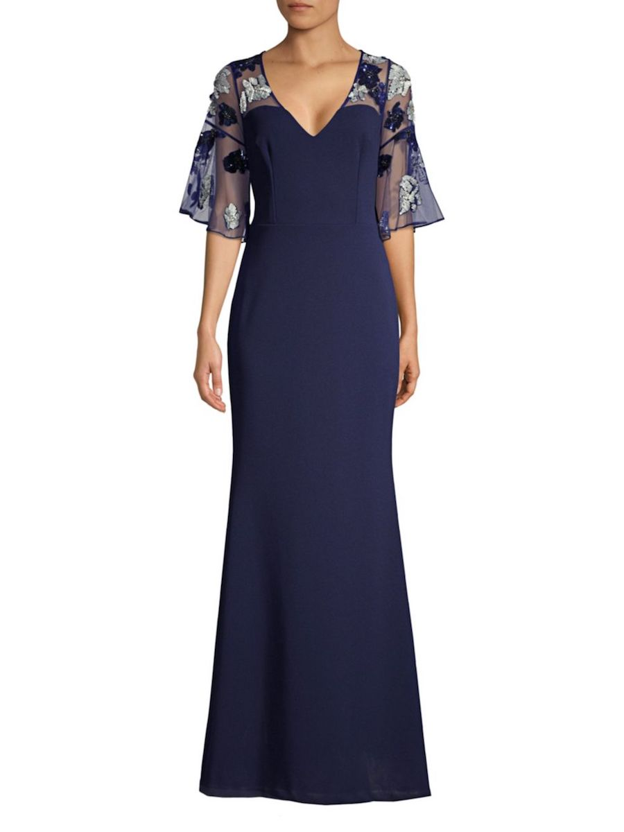Aidan Mattox Sequined Floral Crepe Gown