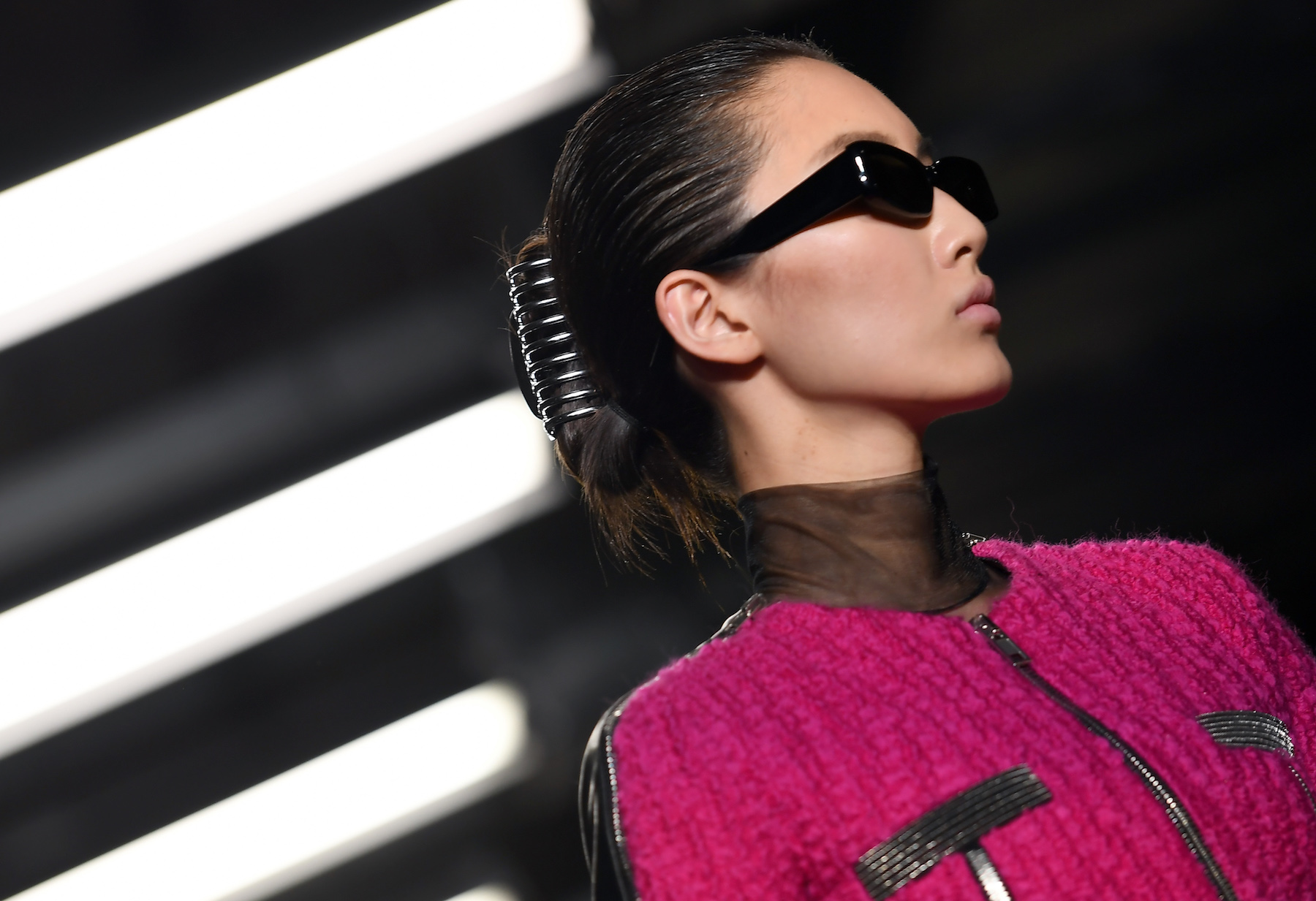 Model wearing claw clip in hair at Alexander Wang show
