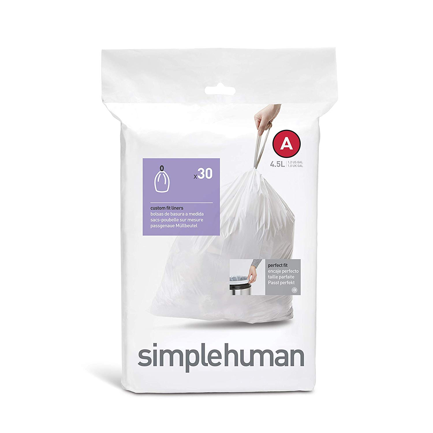 Amazon Essentials SimpleHuman Trash Can Liners in White