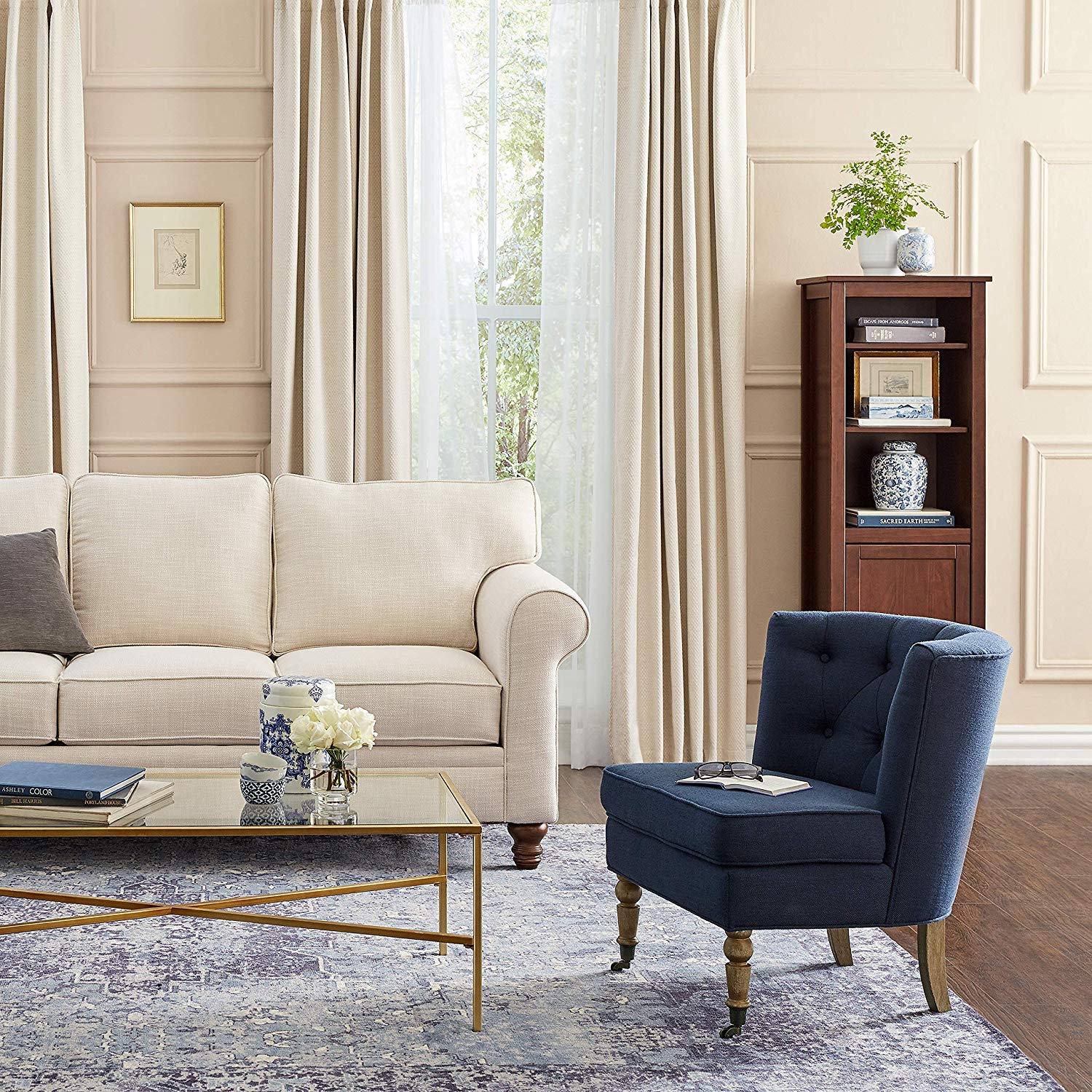 Amazon furniture blue tufted side chair