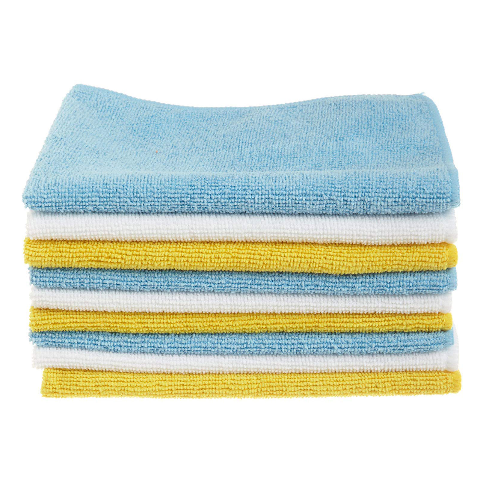 AmazonBasics Blue and Yellow Microfiber Cleaning Cloth, 24
