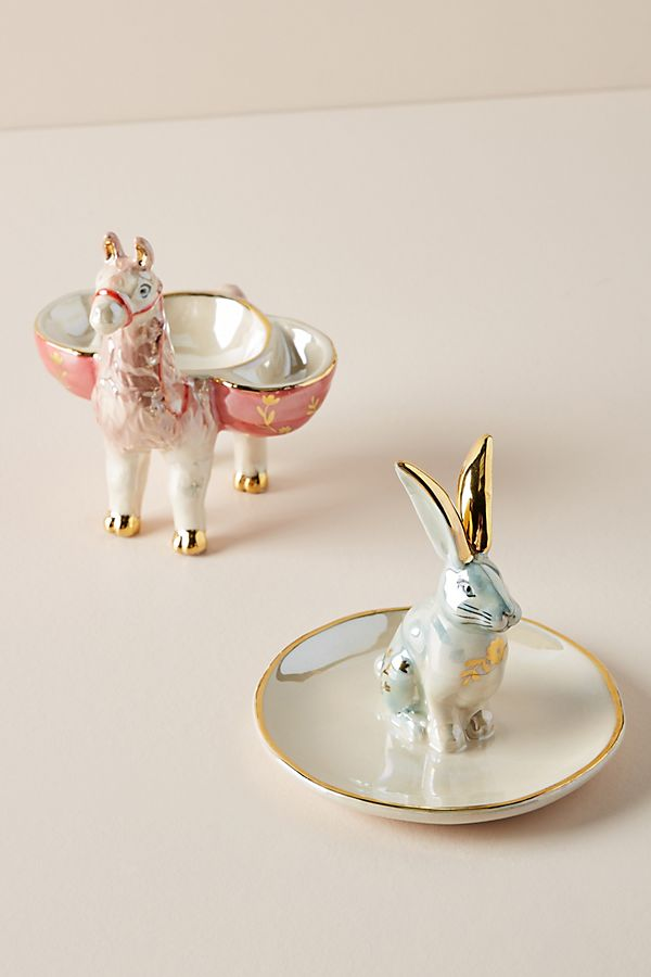 Llama and bunny trinket dishes from Anthropologie
