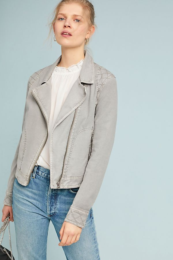 light gray quilted moto jacket
