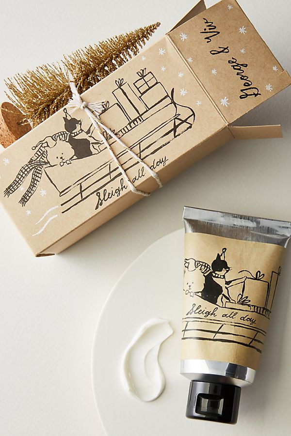 Hand cream with wrapped box from Anthropologie