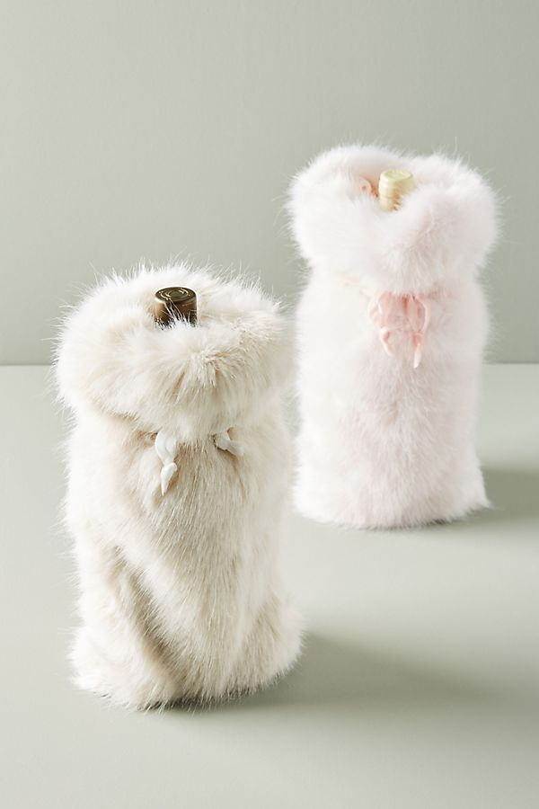 Furry wine wrap in white and pink from Anthropologie