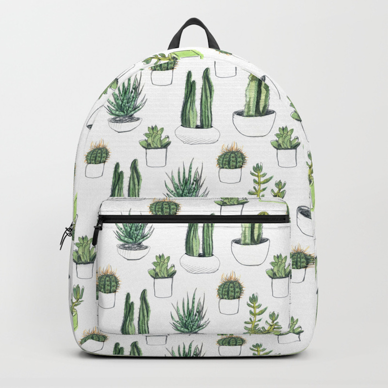 Back to School Shopping, backpack with cacti and succulents