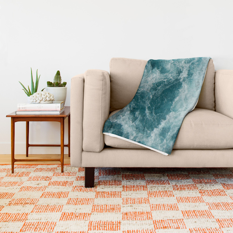 Back to School Shopping, sea patterned throw blanket