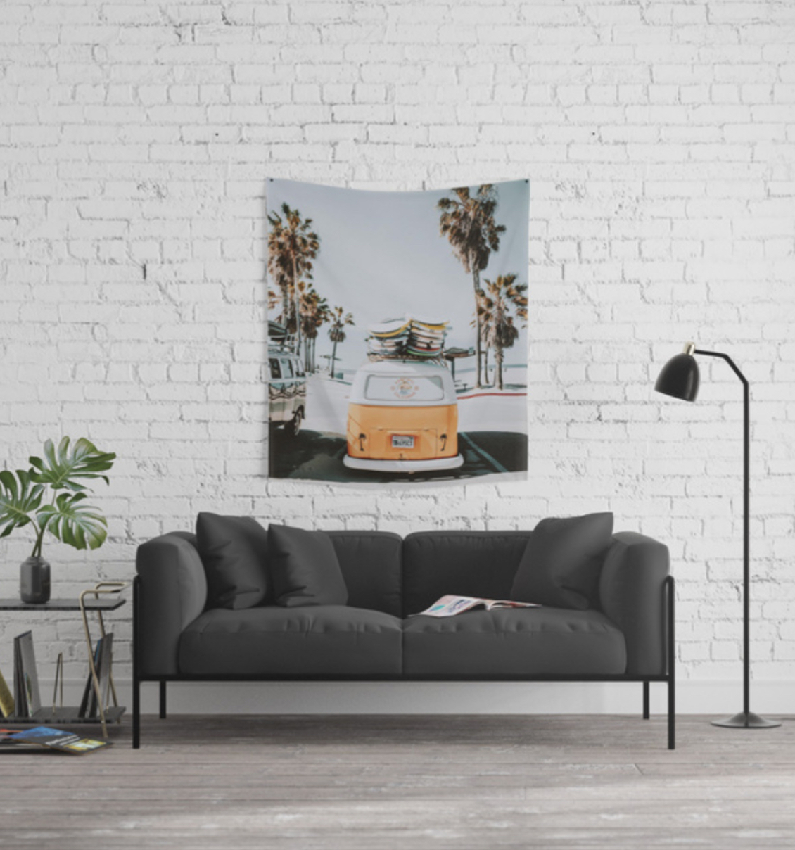 Back to School Shopping Tapestry with van at the beach