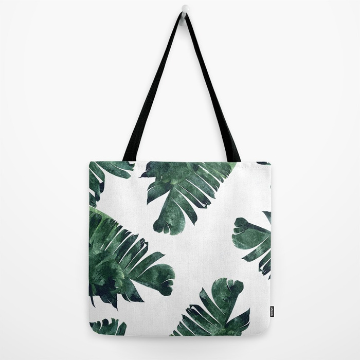 Back to School Shopping, Tote Bag with banana leaves
